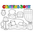 coloring book various furniture 1 vector image