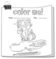 Coloring worksheet with a crying cat vector image vector image