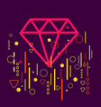 Diamond on abstract colorful geometric dark vector image vector image