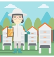 Female bee-keeper at apiary vector image