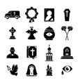 funeral ritual service icons set simple style vector image vector image