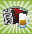 glass of foamy beer and accordion vector image vector image