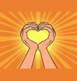hands love heart gesture romance vector image