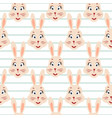 happy bunny pink seamless striped pattern vector image