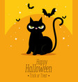happy halloween card with black cat vector image vector image