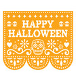 happy halloween papel picado design with skulls vector image vector image