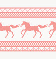 knitted horse seamless pattern in red color vector image