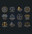 law office symbols set with scales of justice vector image vector image