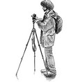 man with a tripod vector image vector image