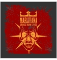 Marijuana Skull on grunge background for vector image vector image