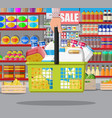 milk counter in supermarket vector image