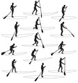 paddle boarding silhouettes vector image vector image