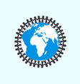 people holding hands around globe - unity symbol vector image vector image