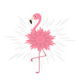 pink flamingo pink flower body shining effect vector image vector image