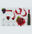 red wine glasses bottle splash grapes 3d vector image vector image