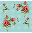 rose pattern on blue vector image vector image