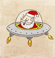 Santa Claus in a Spaceship Cartoon vector image vector image