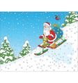 Santa riding a snow scooter vector image