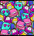 seamless pattern cartoon funny characters vector image vector image
