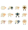sheep cute lamb farm iicons set isolated vector image