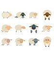 sheep cute lamb farm iicons set isolated vector image vector image