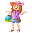 shopping girl cartoon vector image