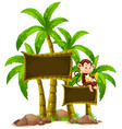 sign template with monkey and trees vector image vector image