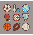 Sport Items Modern Flat Icons Set vector image