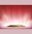 spotlights illuminate a round stage vector image vector image