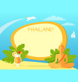 thailand isle with buddha statue and cocktail vector image vector image