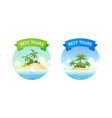 travel tour emblem with summer beach for vacation vector image vector image
