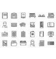 university library icons set outline style vector image vector image