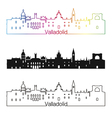 Valladolid skyline linear style with rainbow in vector image vector image