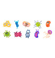 virus characters cartoon infection bacteria and vector image