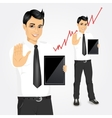 young businessman with tablet screen vector image