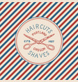 barbershop badge label logo pole emblem scissors vector image vector image