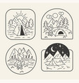 black and white travel forest badge vector image