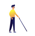 blind man walking with stick vector image