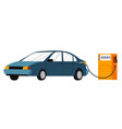 car on gas station refilling with gasoline vector image