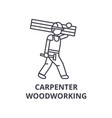carpetner woodworking line icon sign vector image vector image