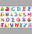 cartoon alphabet with animal characters vector image vector image