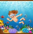 cartoon boy diving in the sea vector image vector image