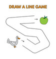 cartoon duck draw a line game for kids vector image vector image