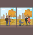 couples and family man and woman with child vector image vector image