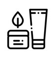 cream container tube leaf thin line icon vector image