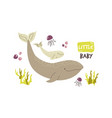 cute whale family baby cartoon design vector image vector image