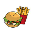 delicious hamburger with tasty fries french vector image vector image