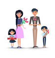 family with bouquets and present vector image vector image