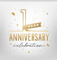 first anniversary celebration golden template vector image