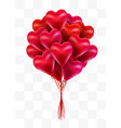 flying bunch of red balloon hearts on transparent vector image vector image